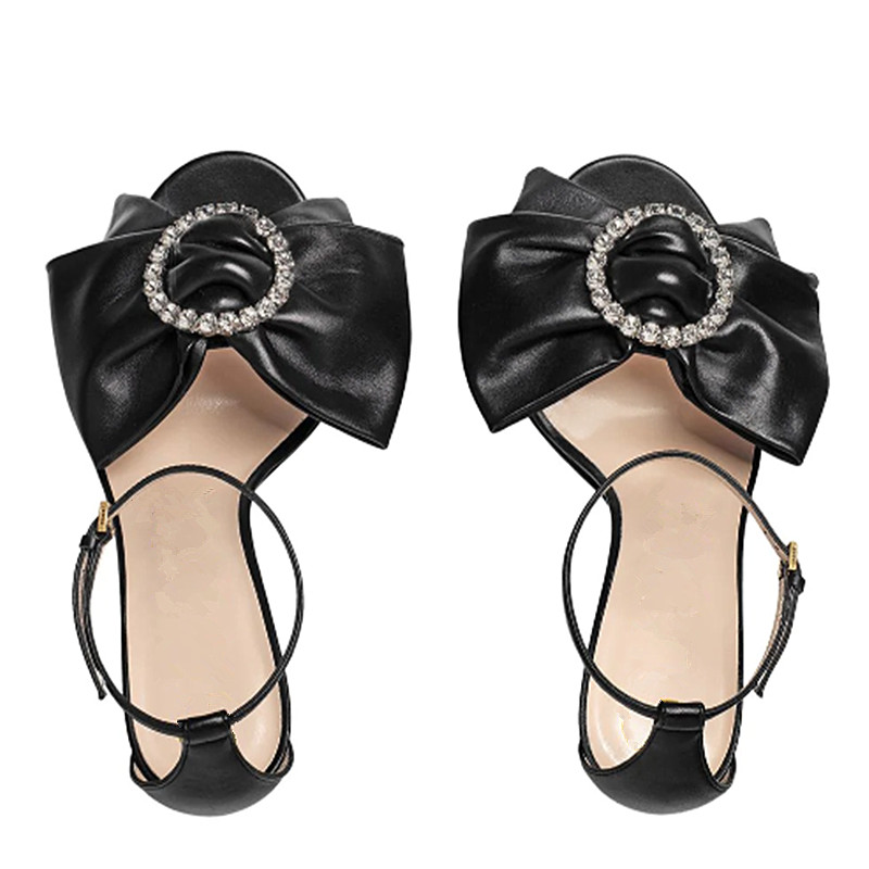 Peep Arc Femmes Boucle Marque Élégant Designers Talons À Dames 2019 Cheville Hauts Chaussures Souliers As Sandales noeud Diamants Toe Stiletto Anneau Picture gqFOwwzW