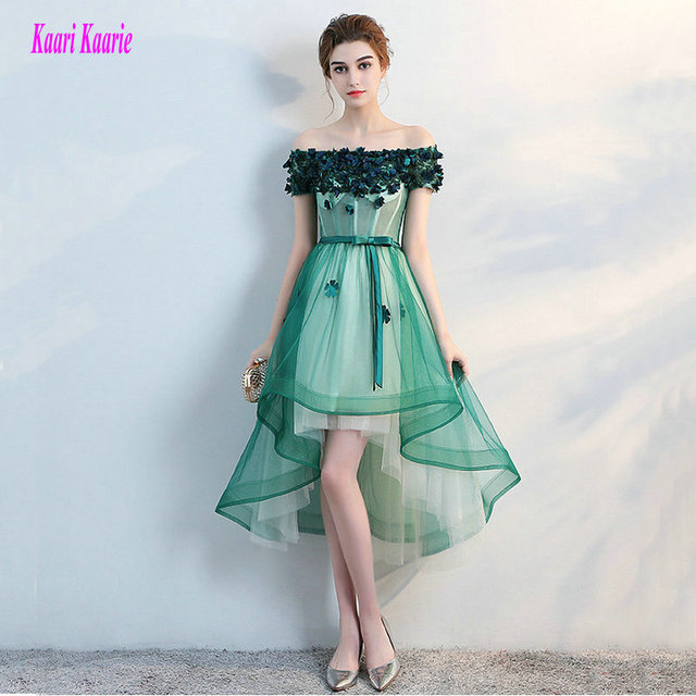 Fashion Green Prom Dresses Short 2018 New Sexy Prom Dress Boat-Neck Tulle  Appliques Lace-Up Beach Built-In Bra Prom Party Gowns 5a964c3a0