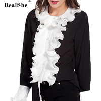 RealShe Women Shirt Sweet Ruffle Black Shirt Long Sleeve T Shirt Women Single Breasted Autumn Womens
