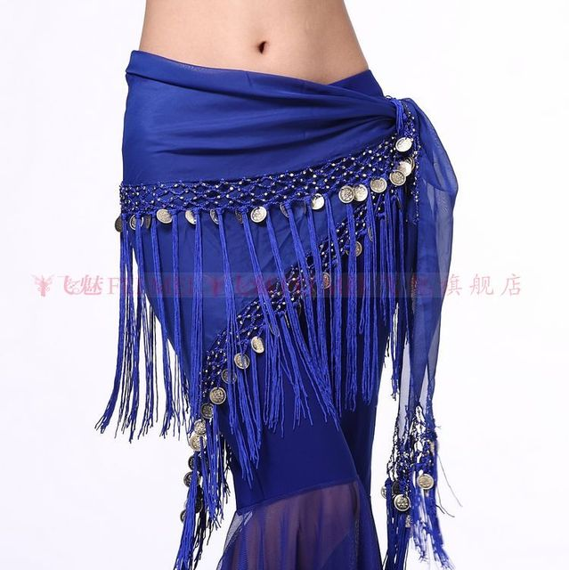 deb2bcfe6 Women Belly dance costume hip scarf tribal coins belt belly dancing coins triangle  waist chain indian dance dress scarf
