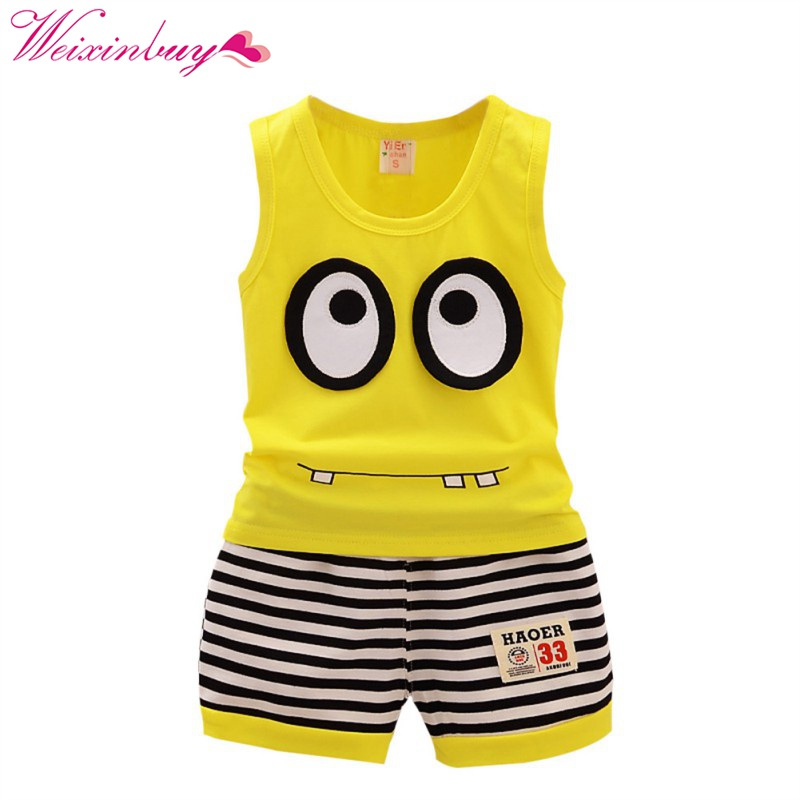 Summer Kids Clothes Set Cotton Cartoon Baby Boy Girls Clothing Set Children Sport Suit Vest+ Stripe Shorts 2pcs Minions summer kids clothes suit for girls 3 13 years children army green cotton shirt clothing set boys girls clothing sport suit 174b