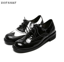 Zorssar 2019 Fashion Woman Flat Oxford Shoes British Style Vintage Soft Genuine Leather black Casual Retro Brogues