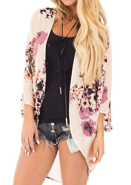 e72d679bf9 New Women Summer Floral Cardigan Kintted Flower Batwing Sleeve Knitted Cardigan  Sweater 3 4 Sleeve