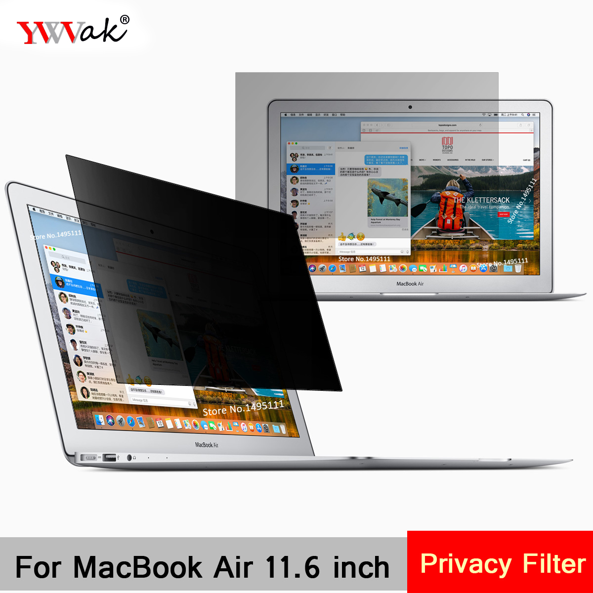 For Apple MacBook Air 11.6 inch (256mm*144mm) Privacy Filter Laptop Notebook Anti-glare Screen protector Protective film image