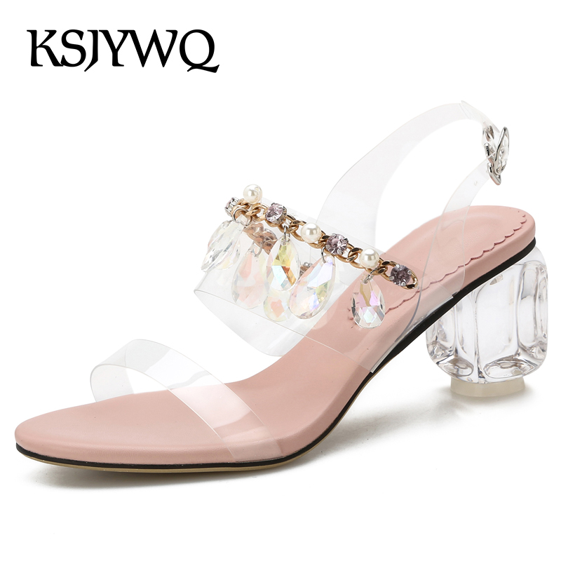 KSJYWQ Silver Women Sandals 5.5 CM Transparent Chunky Heels Open-toe Leather Pumps Summer Buckle Shoes Woman Box Packing 3356