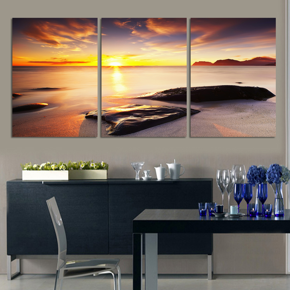 3 Piece Wall Art Seascape Sunrise Ocean Sunset Sea Oil Painting Pictures On  The Wall Art