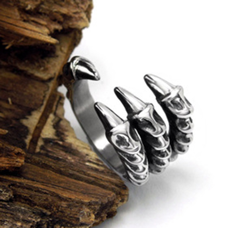 Retro Punk Titanium Steel Tail Opening Ring Dragon Claw Rings Men Jewelry Vintage