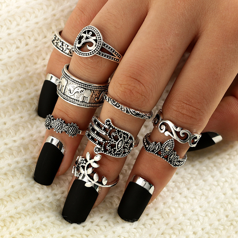 Knuckle Rings Finger-Jewelry Flower Crystal Geometric Dirty-Secret Women Boho Vintage