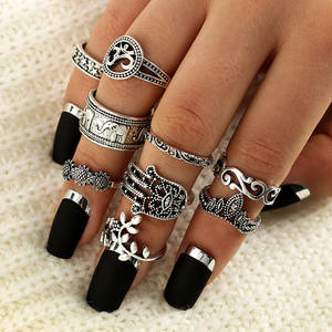 34 Style Dirty Secret Vintage Knuckle Rings for Women Boho Geometric Flower Crystal Ring