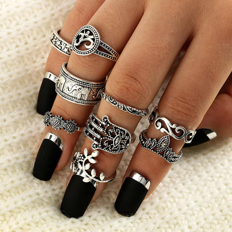 34 Style Dirty Secret Vintage Knuckle Rings for Women Boho Geometric Flower Crystal Ring Set Bohemian Finger Jewelry