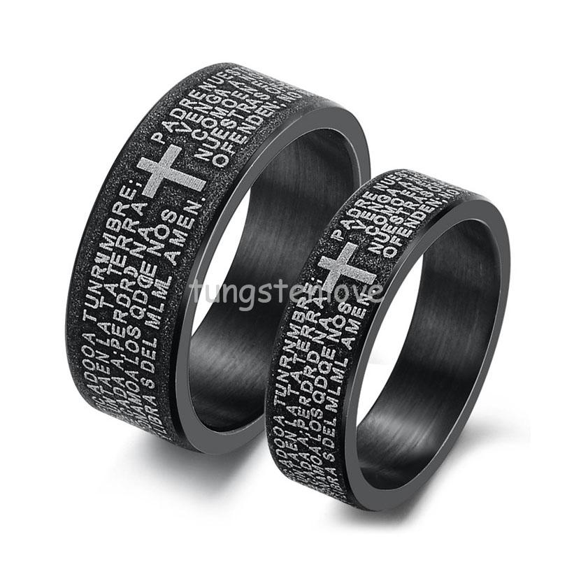 mens womens black love stainless steel bible cross wedding rings band couple promise ring jewelry gifts - Womens Black Wedding Rings