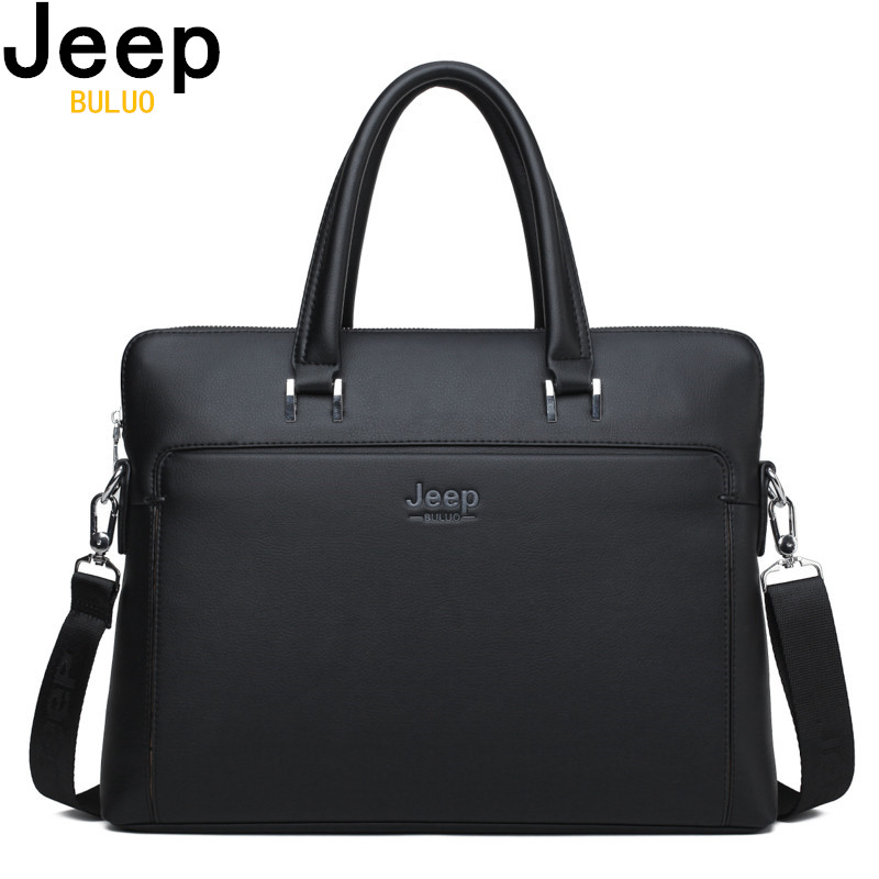 Jeep Brand Men Briefcases Cow Split Leather Handbag For 14 inch Laptop bags Man Travel Briefcase