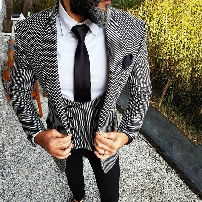 Motif Tweed Personnalisé De Mariage Costumes pour Hommes Floral Slim Fit Marié Smoking des Hommes Britanniques Classique Costume Rétro Mâle Blazer 3 pièces