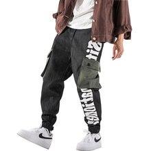 Grande Tasca Jogger Pantaloni Degli Uomini Del Cotone Lettera Disegno  Streetwear Mens Pantaloni Casual Harem Street Style Pantal. 0eab49075c43