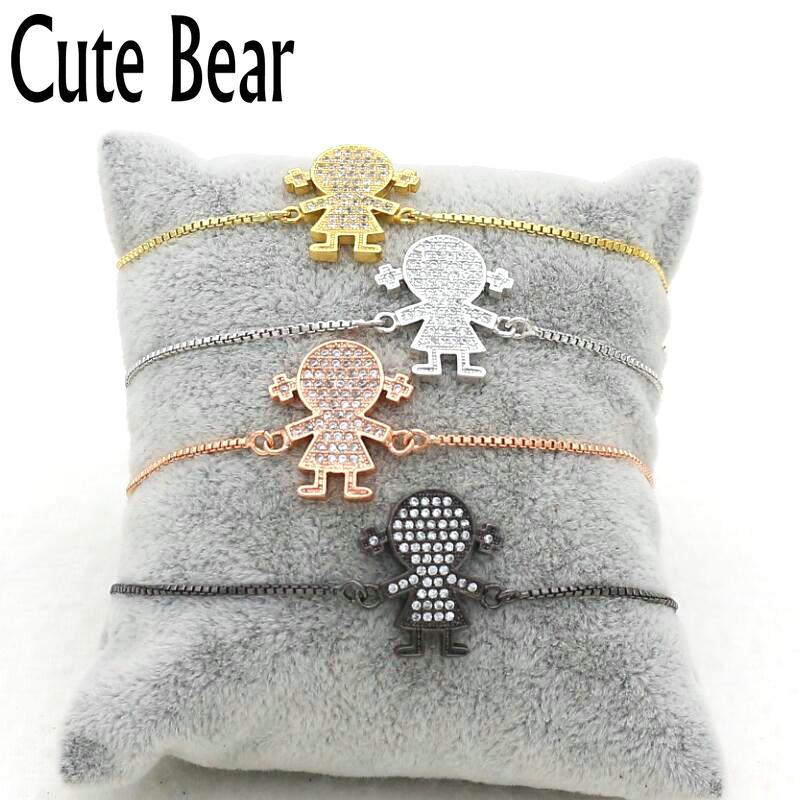 Cute Bear Brand Micro Pave CZ Lovely Little Girl Bracelet Jewelry Copper Material Adjustable Box Chain Bracelet Women Jewelry