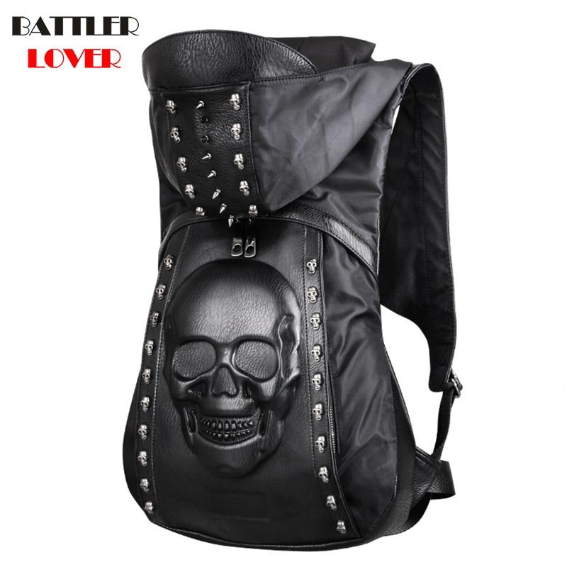 2018 New Men Hooded Backpack Mochilas Males Skull Backpack Mens Bagpack Mochila Masculina Hombre Biker Punk High Quality PU Bags