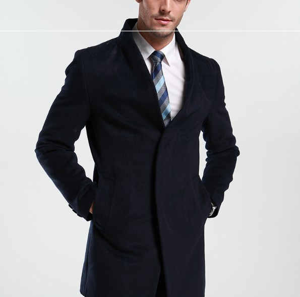 Mens Business Casual Wool Trench Coat Men Autumn Winter
