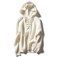 100% шерсть мериноса Модные трикотажные женские босоножки с капюшоном пуловер пальто Sprint Осень Белый S/3XL