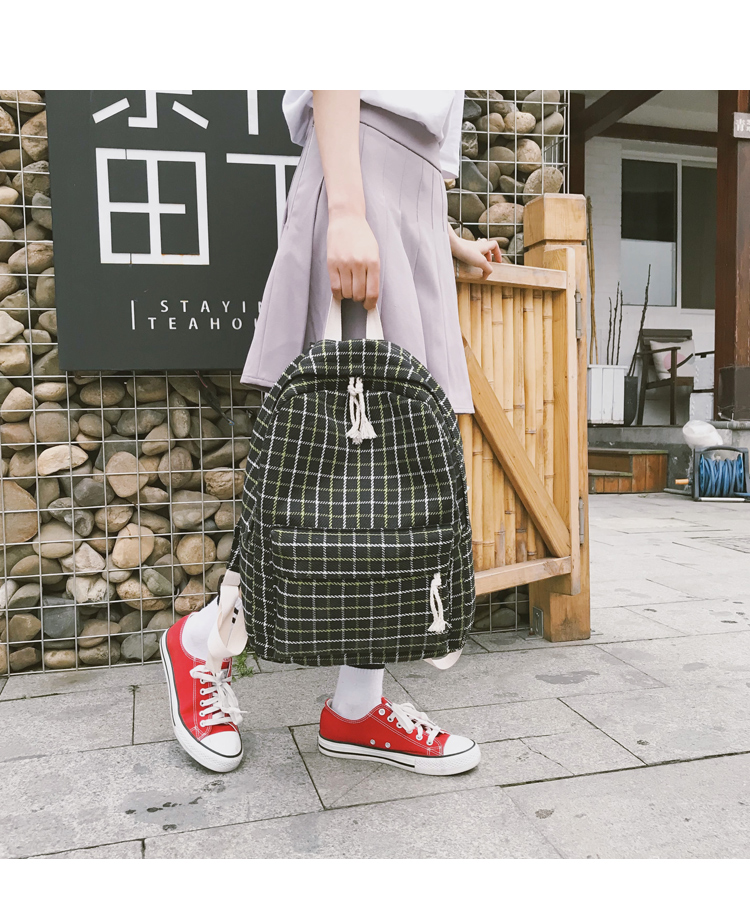 HTB1AJ.Va8Gw3KVjSZFwq6zQ2FXaT 2 Pieces Japan style Plaid Style Women Backpack Pencil Case Student Girl School Bag Travel Shoulder Bag For Women 2019 Bagpack