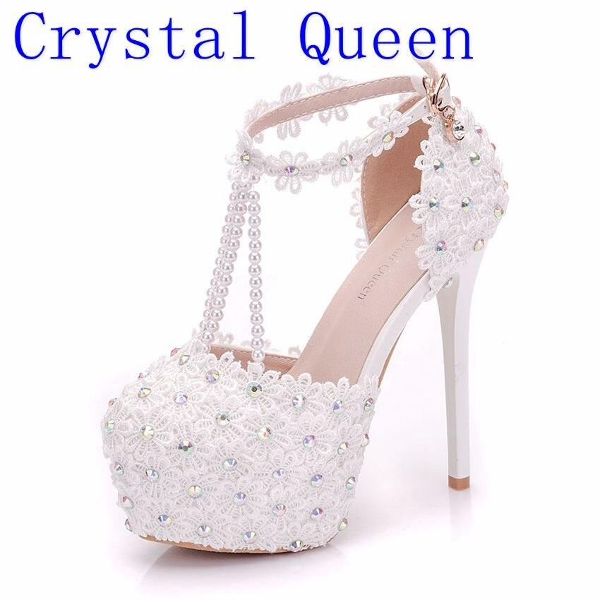 Crystal Queen Beautiful White Flowers Pearl Tassel Bridal Super High Heels Fine Heel Slender Bridal Lace