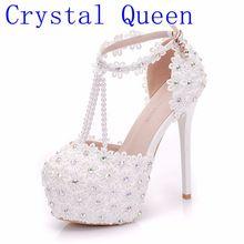 Reina de cristal blanco flores de perlas borla de Super alta tacones bien  tacón Delgado nupcial flores de encaje a65af07538e2
