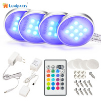 LumiParty Dimmable RGB LED Under Cabinet Light Downlight Spotlights With RF Remote Control For Home Kitchen