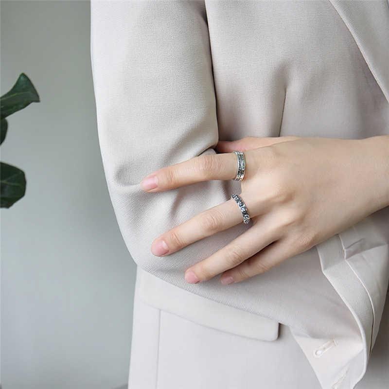 ROMAD ทั้งหมดจับคู่แฟชั่นการออกแบบโรมันตัวเลขตัวอักษรปรับขนาดได้แหวนคุณภาพ 925 เงินสเตอร์ลิงปรับแหวน R4