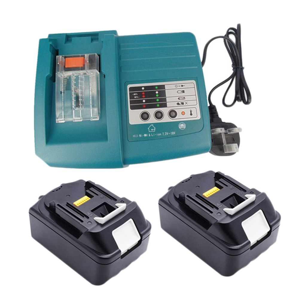 2pcs Lithium Ion 3000mAh 18V Li-Ion Rechargeable Battery Replacement Power Tool Battery with charger for Makita power tool battery hit 25 2v 3000mah li ion dh25dal dh25dl bsl2530 328033 328034 page 1
