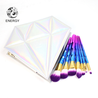 ENERGY Brand 7pcs Purple Blue Diamond Handle Makeup Brushes Make Up Brush Set Brochas Maquillaje Pinceaux