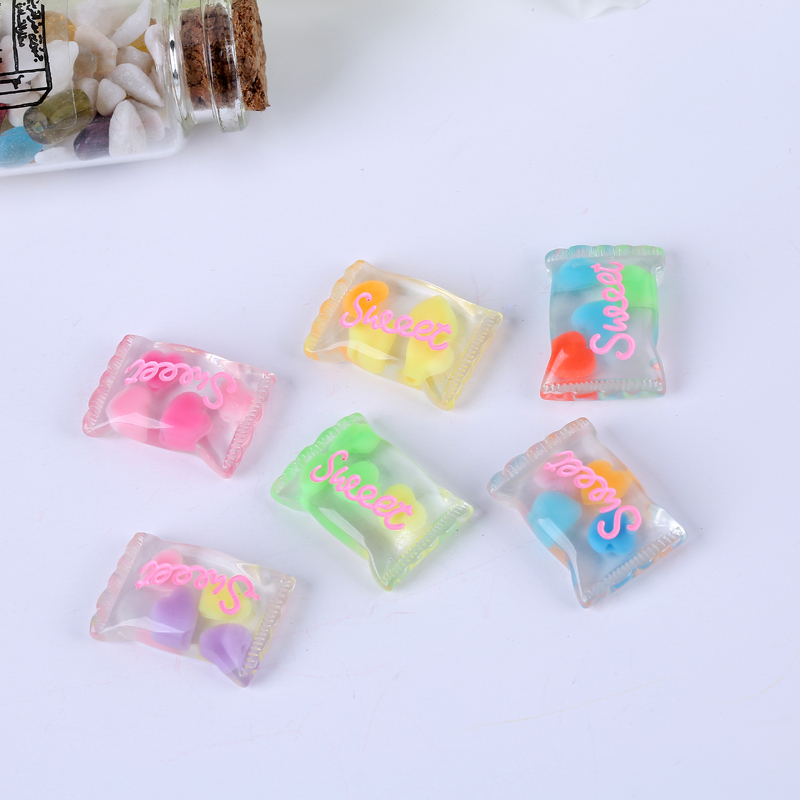 23*16mm Diy Craft Hair Accessory 20Pcs Mixed Flat Back Resin Sweet Candy Cabochon Glitter Color For Diy Decoration