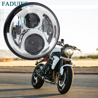 FADUIES 7 Round LED Headlight 60W High Low Beam For harley Motorcycle Projector 7 inch Led headlamp Chrome