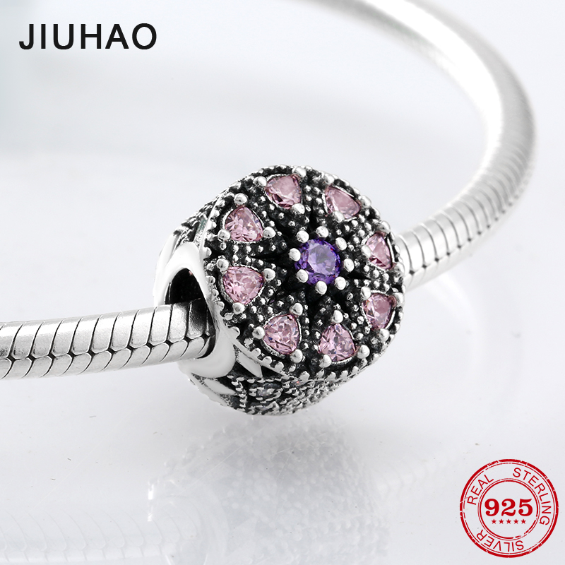 925 Sterling Silver eight pink and a purple CZ beads fashion accessories Fit Original Pandora Charm Bracelet Jewelry making ...
