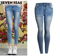 New Fashion Low Rise Skinny Jeans Femme Stretch Washed Blue Classic Ladies Jeans Slim Femme Plus Size Denim Pants