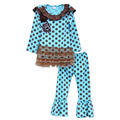 Spring Kids Fashion Outfits Cotton Baby Girl Clothes Polka Dots Ruffle Top and Pants Sets Children Clothing With Lace Him F009