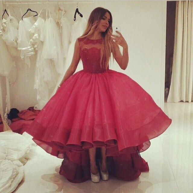 Caftán corto prom vestidos kim kardashian alto bajo de noche formal ...