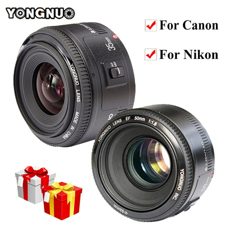 YONGNUO 35mm Lens YN35mm F2.0 AF/MF Fixed Focus F1.8 AF/EF Lens for Nikon F Mount D3200 D3400 D3100 D5300 for DLSR Camera Canon