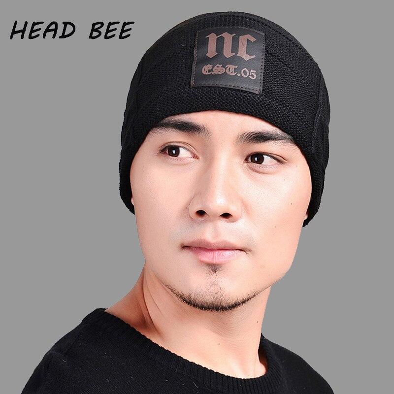 [HEAD BEE] Brand Beanies Hat Men Wool Winter Hat Warm Letters Knitted Hat 2017 Bonnet Hat Skullies nrg cafs 4450 купить в тольятти