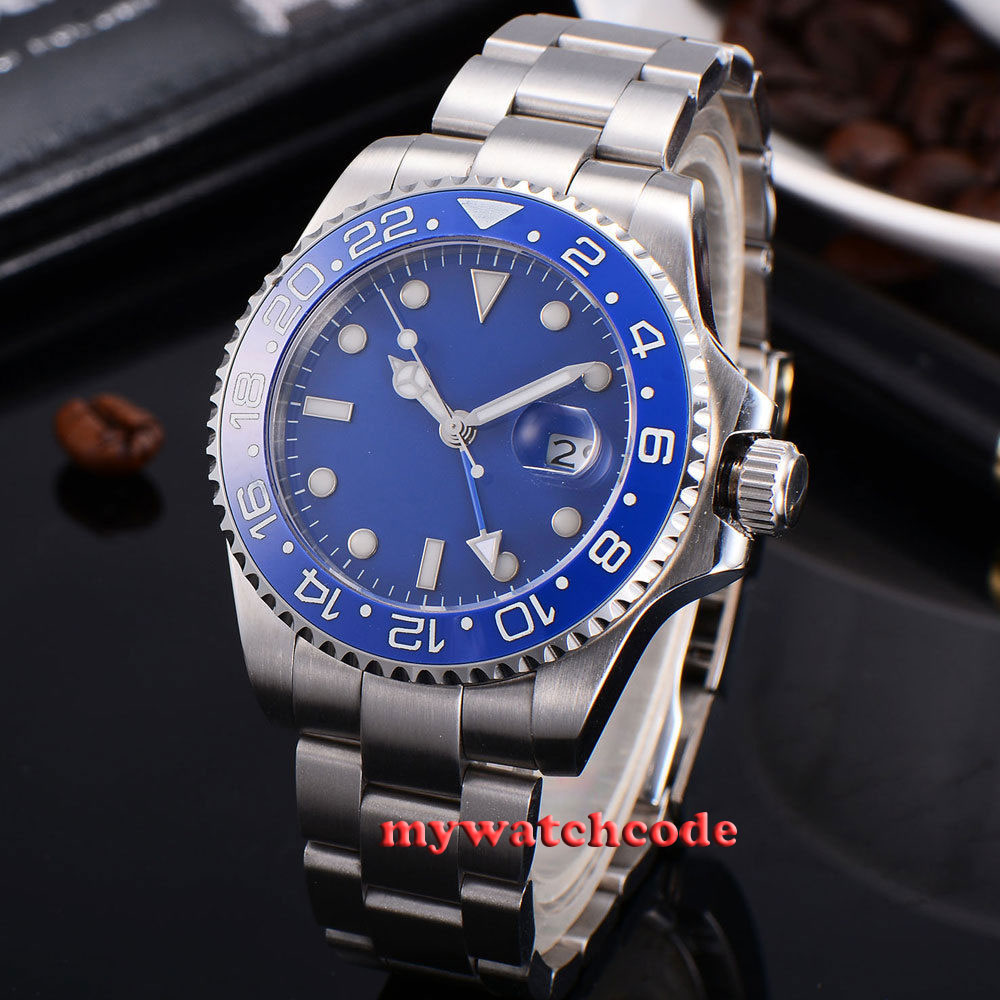 лучшая цена 43mm bliger blue sterile dial blue ceramic Bezel date stainless steel strap sapphire glass automatic mens watch 324