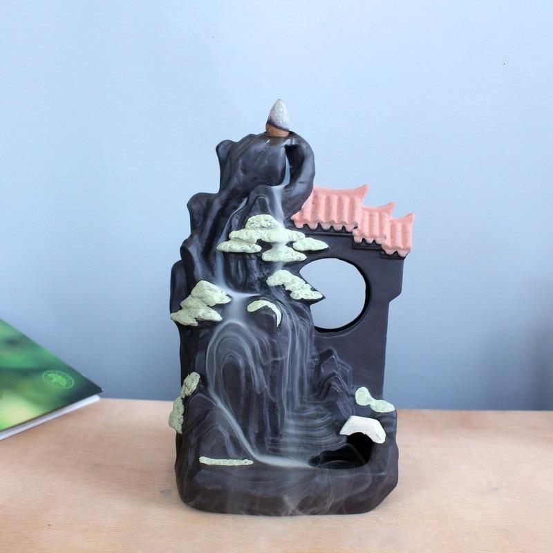 F Ceramic Somking Backflow Burner Home Decor Indoor Desktop Office Ornaments Moon Cone Incense Holder Censere Living Room Base