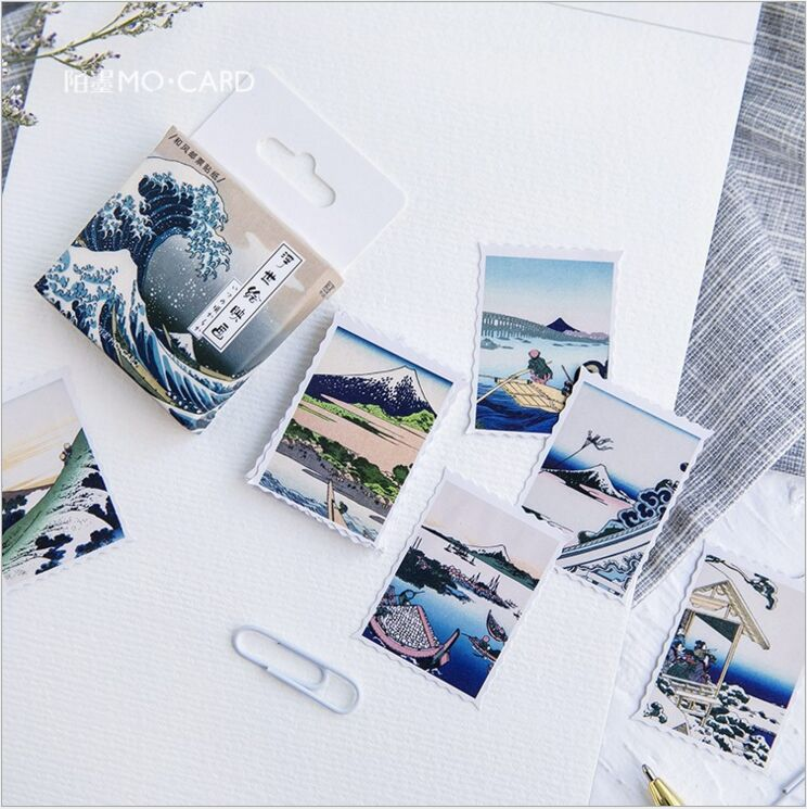 45pcs/box Ukiyoe pictures Japanese mount Scenery Decoration planner sticker DIY Diary scrapbook Handcraft phone Sealing stickers