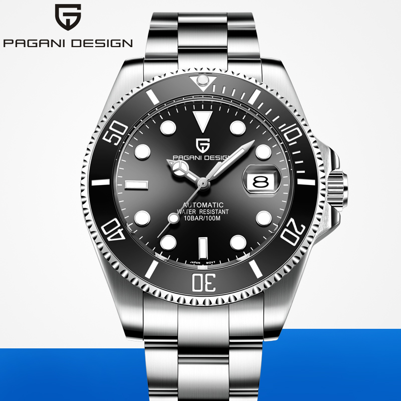 2020 pagani design marca automática relógio mecânico dos homens esportes 100 m à prova dwaterproof água esporte masculino safira relógio de pulso relogio masculino