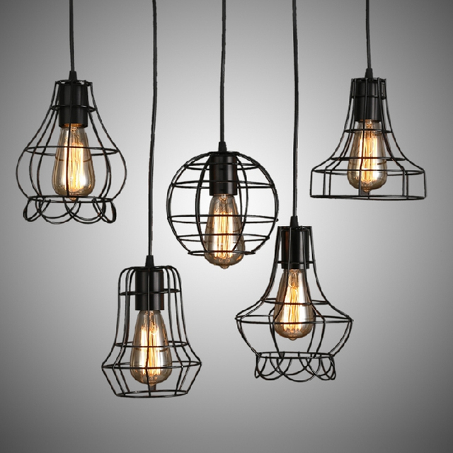 Loft retro vintage black industrial iron cage pendant lamp cord loft retro vintage black industrial iron cage pendant lamp cord lights illumination for dining room bedroom aloadofball Gallery