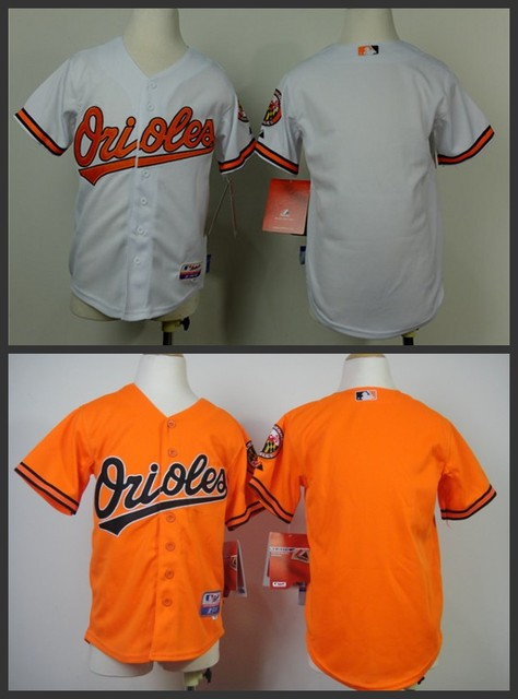 Youth Kids blank Orioles Jerseys authentic cheap boys Baltimore Orioles  Baseball Jersey shirt Orange White stittched logos 2441df4cd