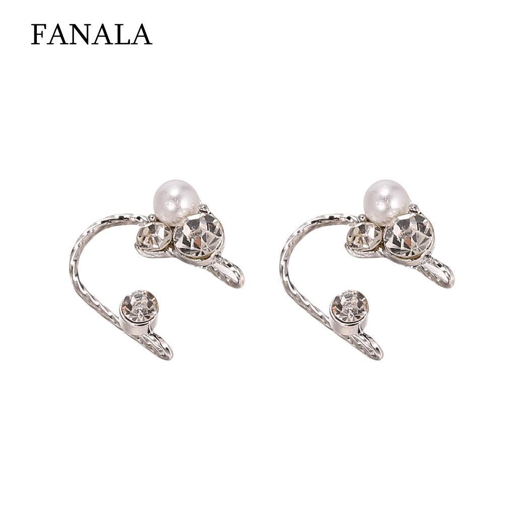 Alloy Fashion Women Artificial Pearls Diamonds Stud Earrings Clip Earrings