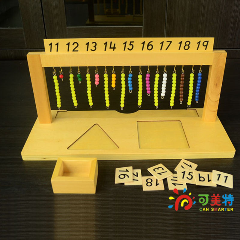 Montessori Materials 11-19 Bead String Shelf Counting Calculate Beech Wood Math Tools Early educational toys  Can Smarter montessori materials the pythagorean theorem blocks a pack calculate beech wood math tools early educational toys can smarter