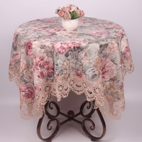 Soft Pastoral Flowers Cotton Table Cloth For Home Kitchen Table Decoration Elegant Lace Tablecloth For Wedding