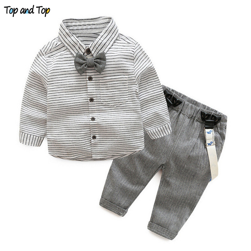 Top and Top Baby Boys Gentleman Clothes Suits Toddler Cotton Long Sleeve Bowtie Striped Shirt+Overalls Pants Infant Outfits