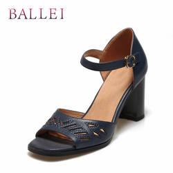 BALLEI ручной работы женские босоножки Роскошная натуральная кожа открытый носок квадратный каблук обувь с ремешком на щиколотке Винтаж леди