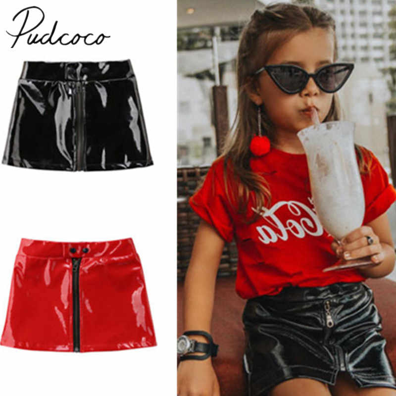 2018 Brand Nieuwe Peuter Baby Kind Kinderen Meisje PU Rok Prinses Pailletten Lederen Mini Rok Rits Outfits Kleding Set 6 m-5 t