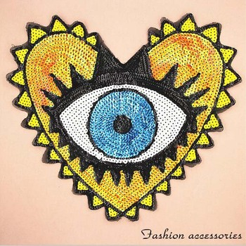 Paillette Sequins Heart Eye Elephant Patch Clothes Stickers Bag Sew on Patches Applique DIY Apparel Sewing Clothing BU105